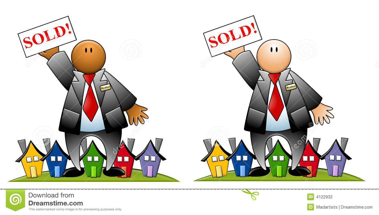 Real Estate Agent With Sold Sign And Houses Stock Illustration.