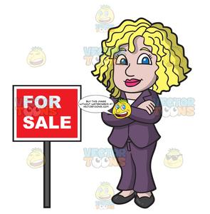 A Female Real Estate Agent Confident To Sell Houses.