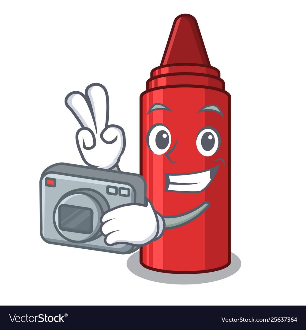 Photographer red crayon in a cartoon bag.