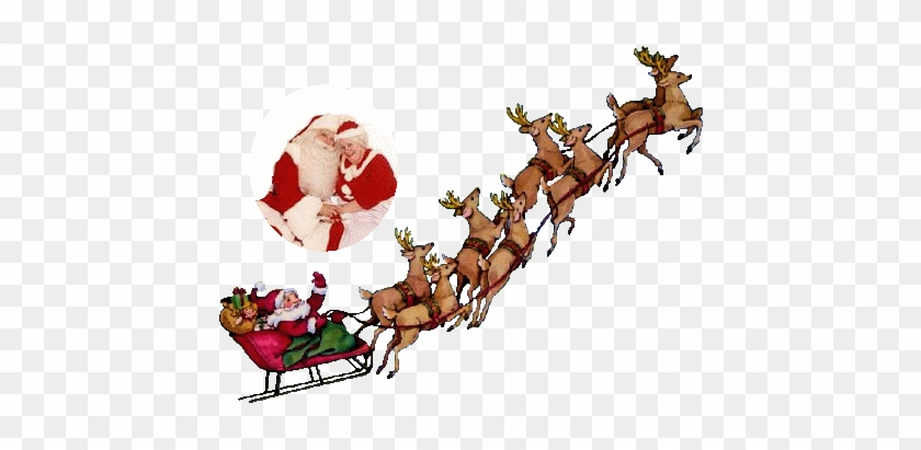Santa Sleigh And Reindeer Animated Clipart.
