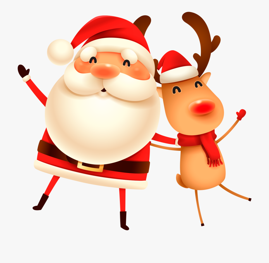Merry Christmas Santa And Reindeer Clipart.