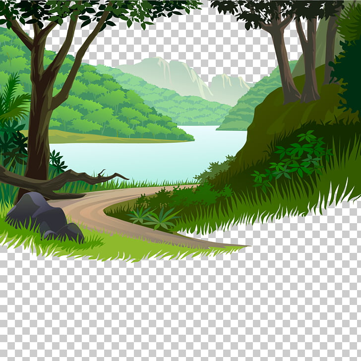 Nature Cartoon Illustration, Mountain road small river, animated.