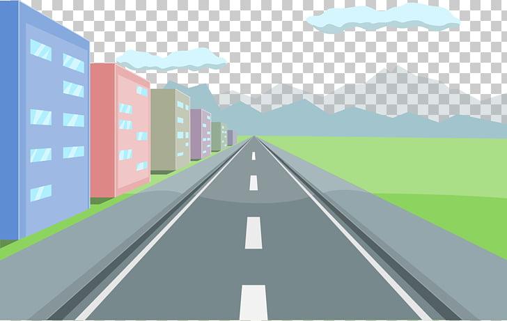 Road curve , road, road beside buildings illustration PNG.