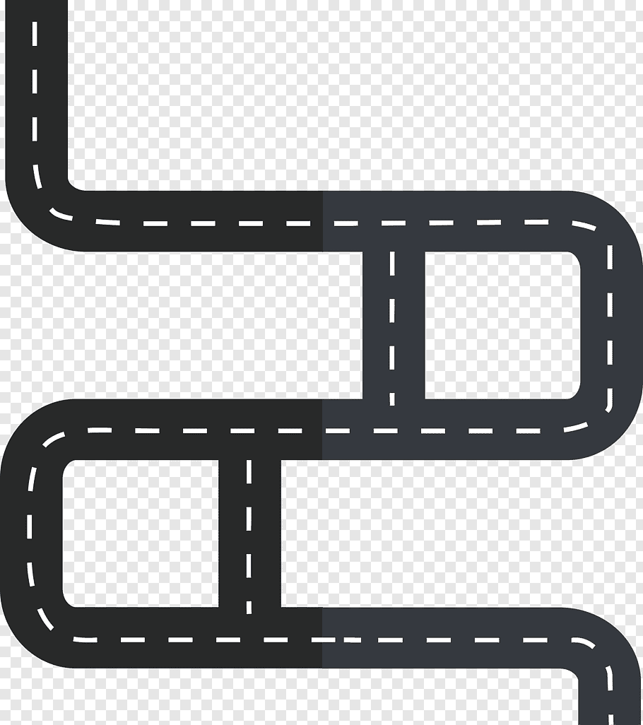 Black road illustration, Roadworks Cartoon Traffic, Winding.