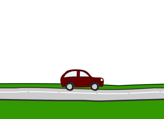 Animated Car On Road.