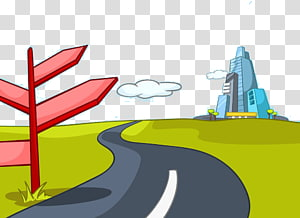 Cartoon Illustration, Cartoon flat road transparent.