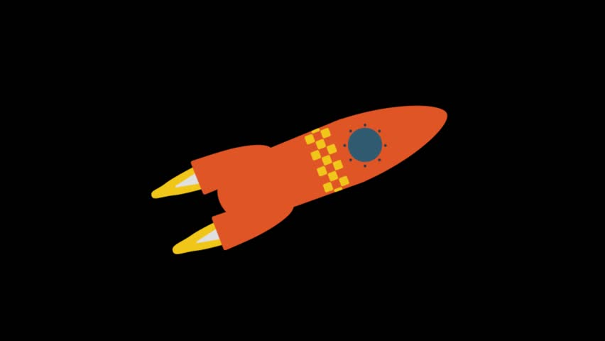 Rocket Icon Animation with Black Stock Footage Video (100% Royalty.