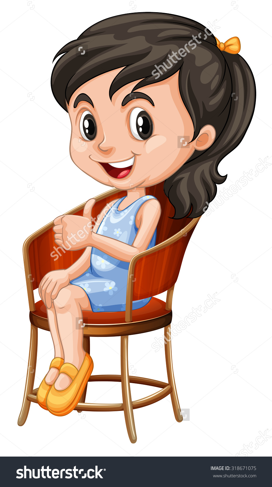 Girl Sitting In A Chair Clipart.