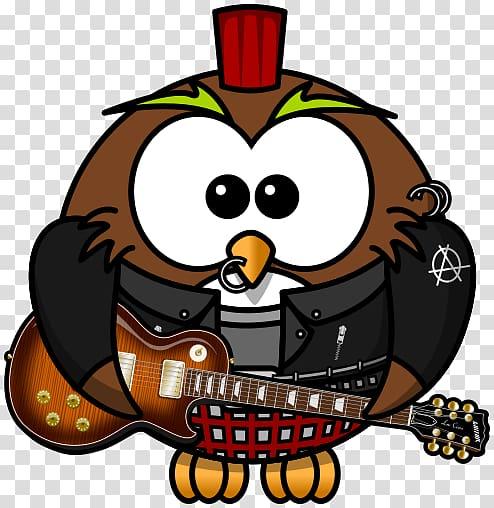 Rockstar , owl cartoon transparent background PNG clipart.
