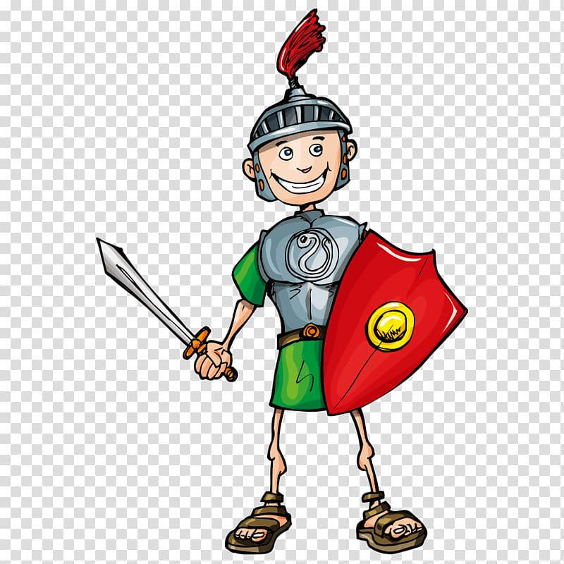 Cartoon Legionary Soldier Roman army, character soldier.