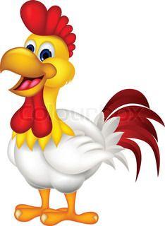 Happy cartoon rooster cartoon.