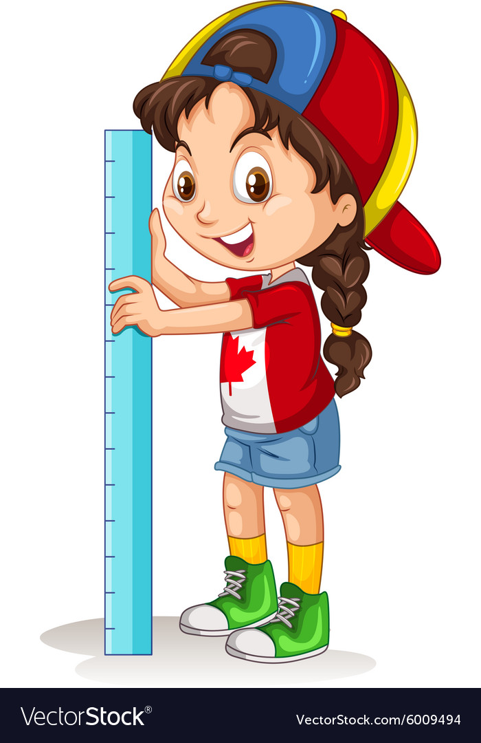 Canadian girl with measuring ruler.
