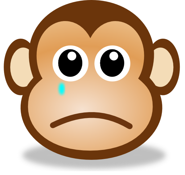 Sad Monkey Face 2 Clip Art at Clker.com.
