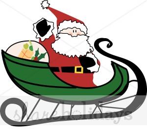 Printable Santa Sleigh Clipart.