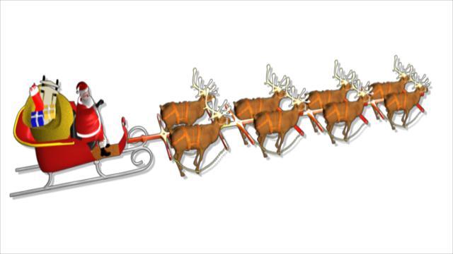Free Animated Clipart Santa Sleigh.