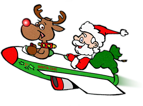 Animated Santa Sleigh Clipart.