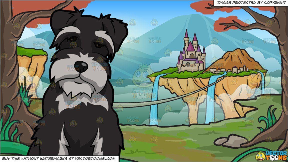 clipart #cartoon An Intrigued Miniature Schnauzer Dog and An.