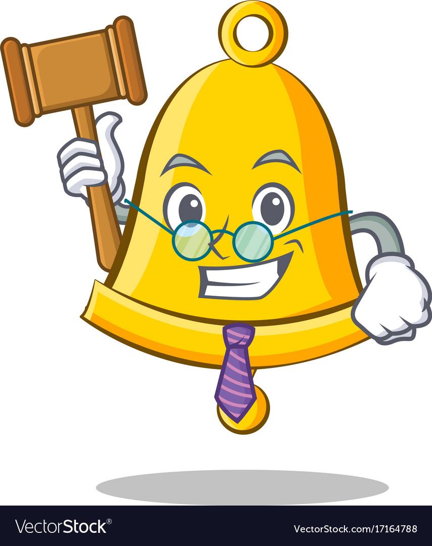 Judge school bell character cartoon.