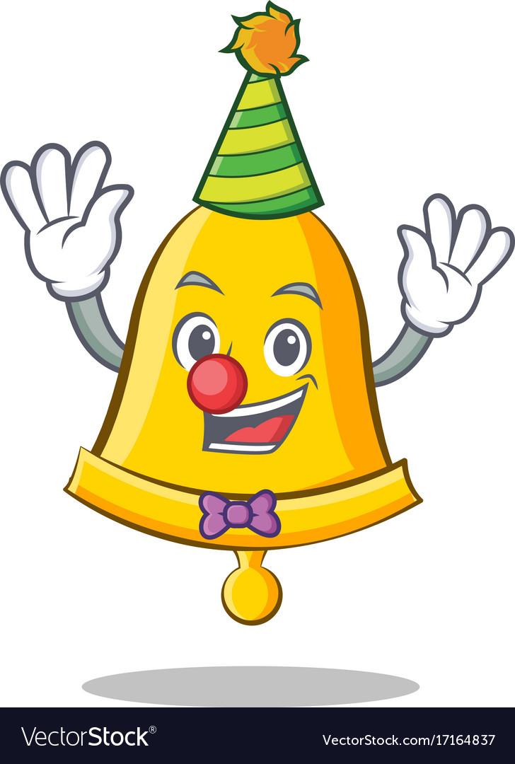 Clown school bell character cartoon.