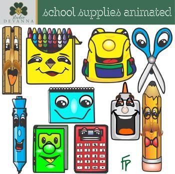Cartoon School Supplies Clip Art.