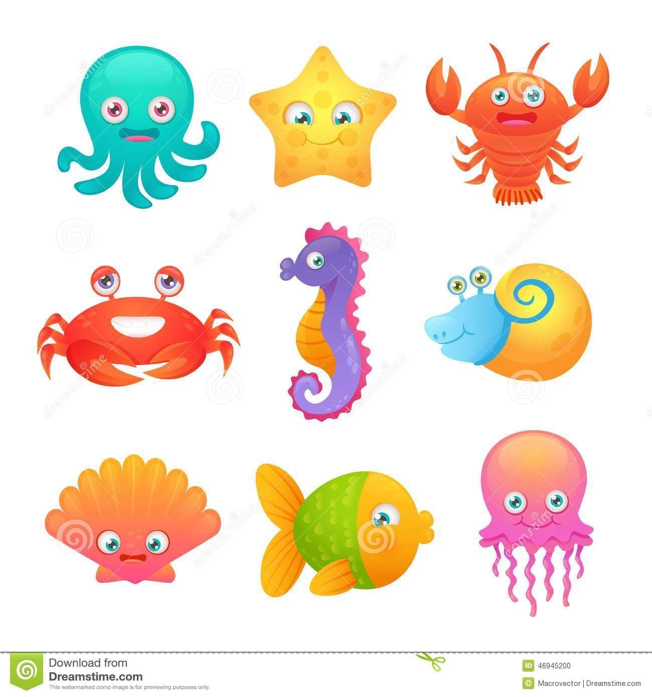 Cute Cartoon Sea Octopus.