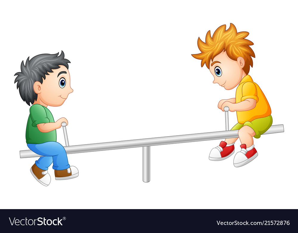 Two boys playing on seesaw.