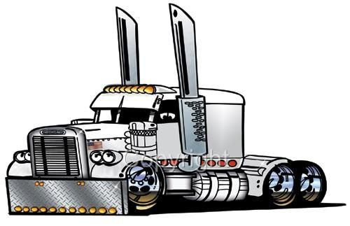 Semi truck outline drawing.