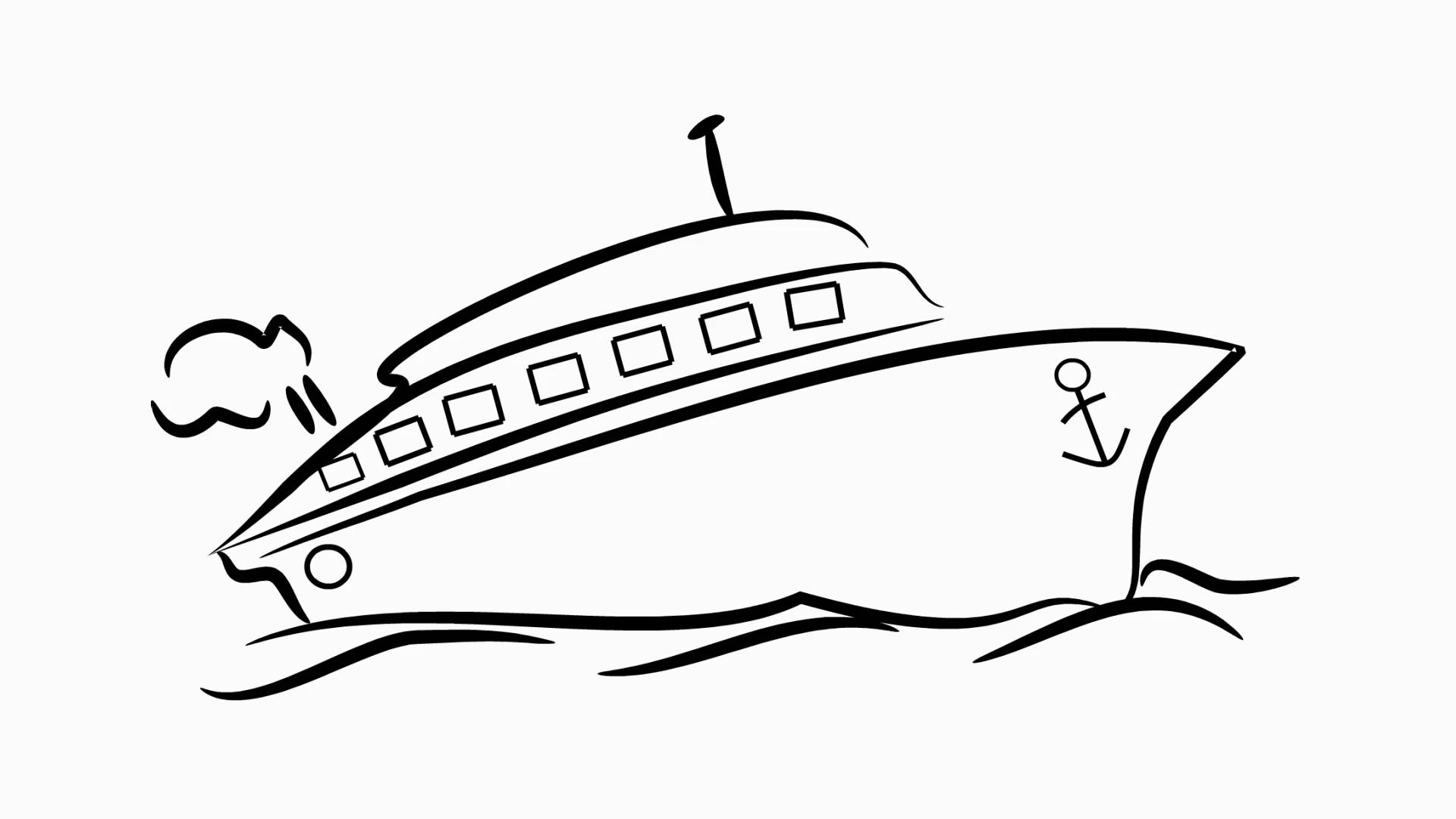 Ship transportation cargo line drawing illustration animation with  transparent background.