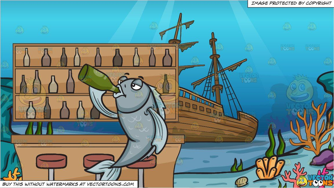 clipart #cartoon Drink Like A Fish and A Shipwreck.