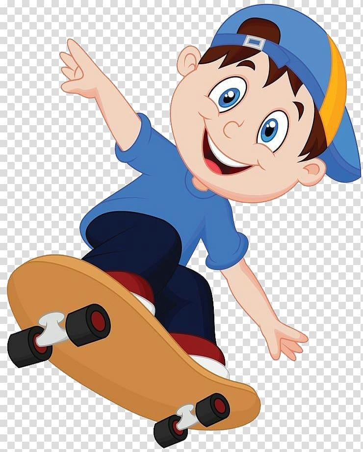 Boy riding skateboard , Cartoon Skateboarding , Fun.