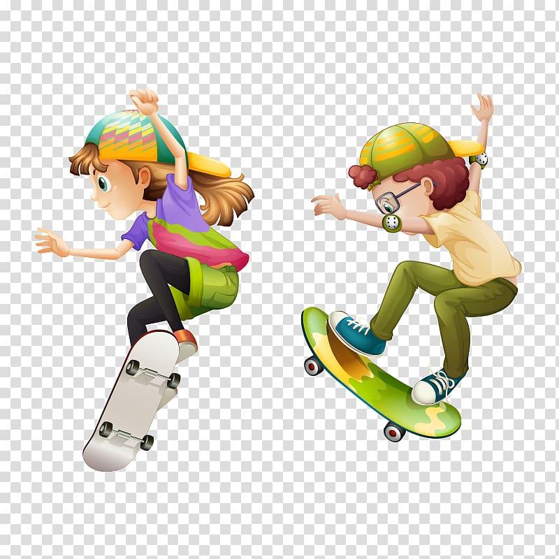 Skateboarding , Cartoon characters,Skateboard Boy.