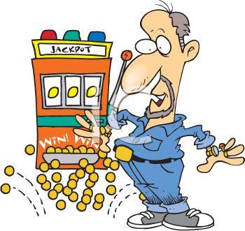 Cartoon of a Surprised Man Winning a Slot Machine Jackpot.