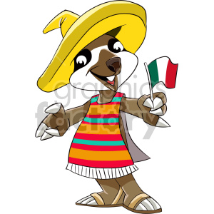 cartoon mexican sloth clipart. Royalty.