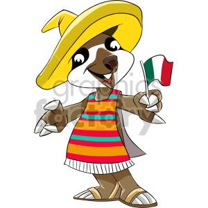 cartoon mexican sloth clipart. Royalty.