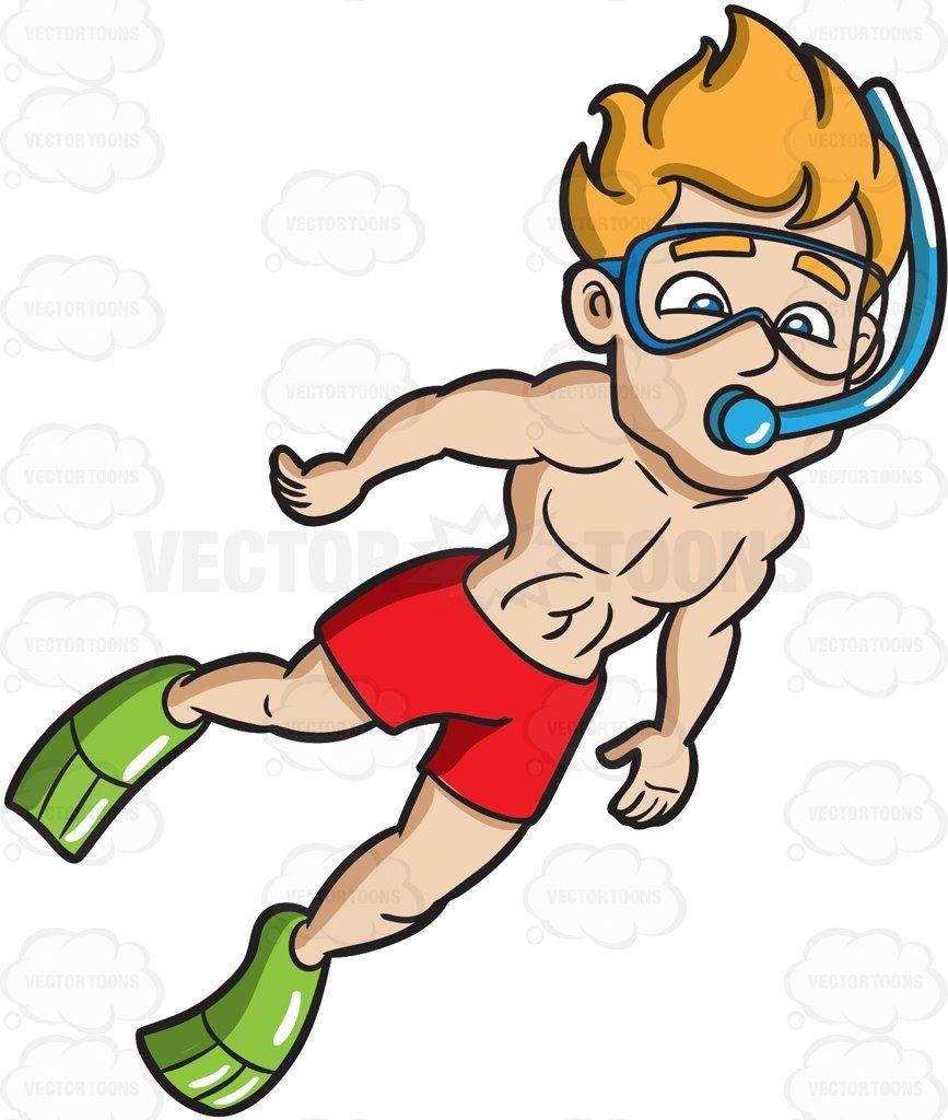 A man snorkeling in water #cartoon #clipart #vector.