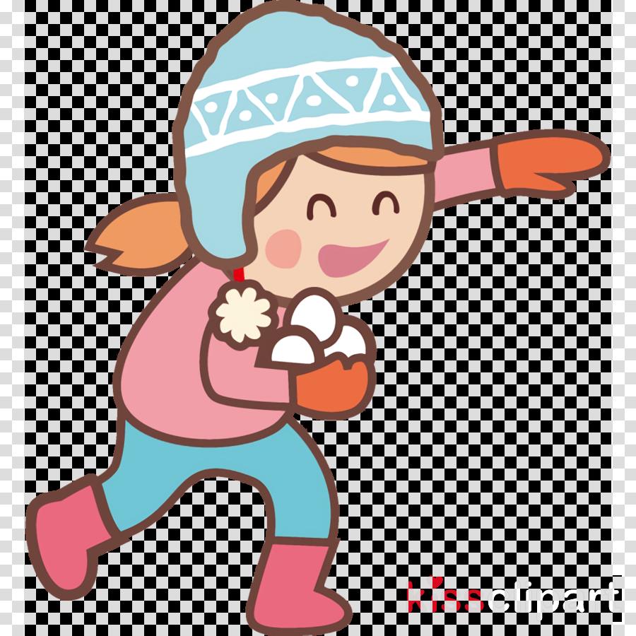 Snowball fight winter kids clipart.