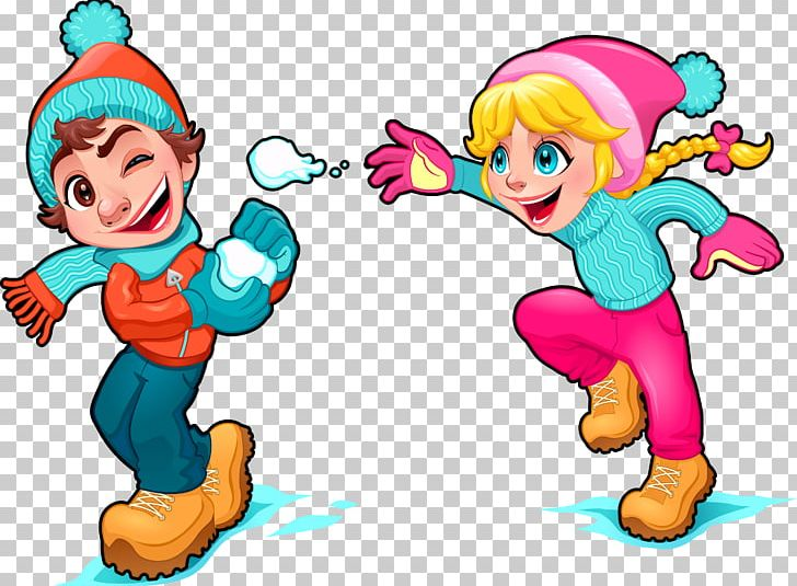 Cartoon Snow Play Illustration PNG, Clipart, Child.
