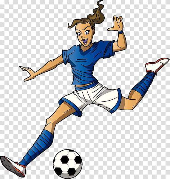 Woman playing soccer illustration, Football player Cartoon.