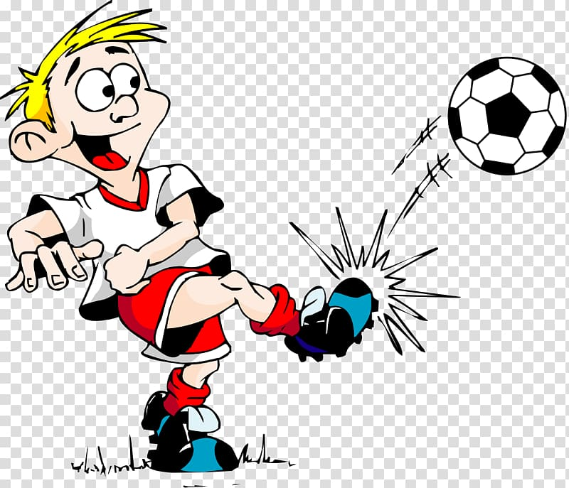 Football player , soccer ball transparent background PNG.