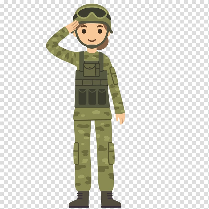 Soldier standing illustration, Soldier Salute Cartoon Army.