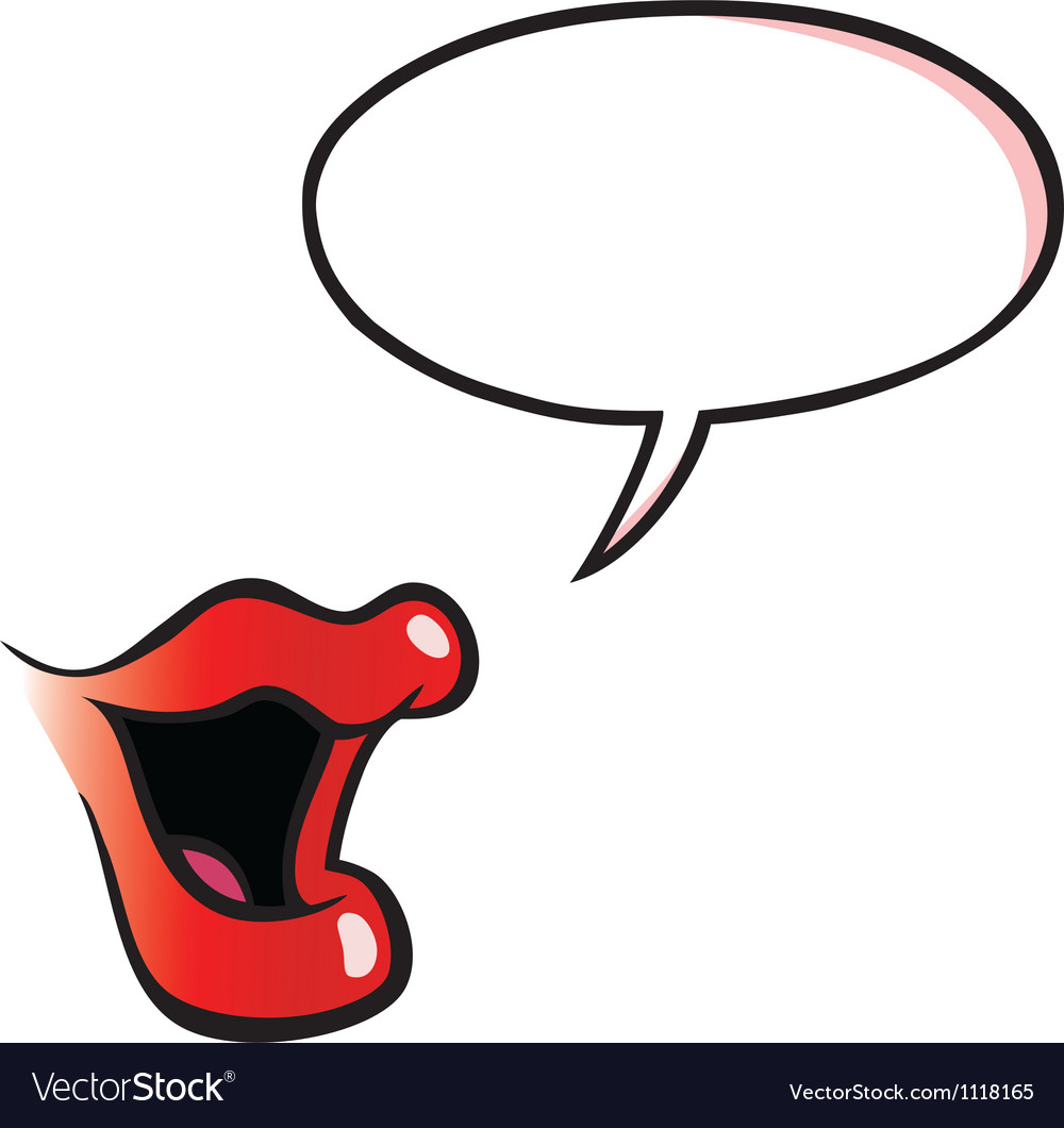 Cartoon female mouth with speech bubble.