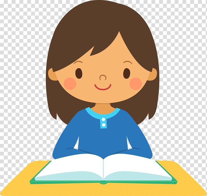 Girl reading book illustration, Student Girl School , Girl.