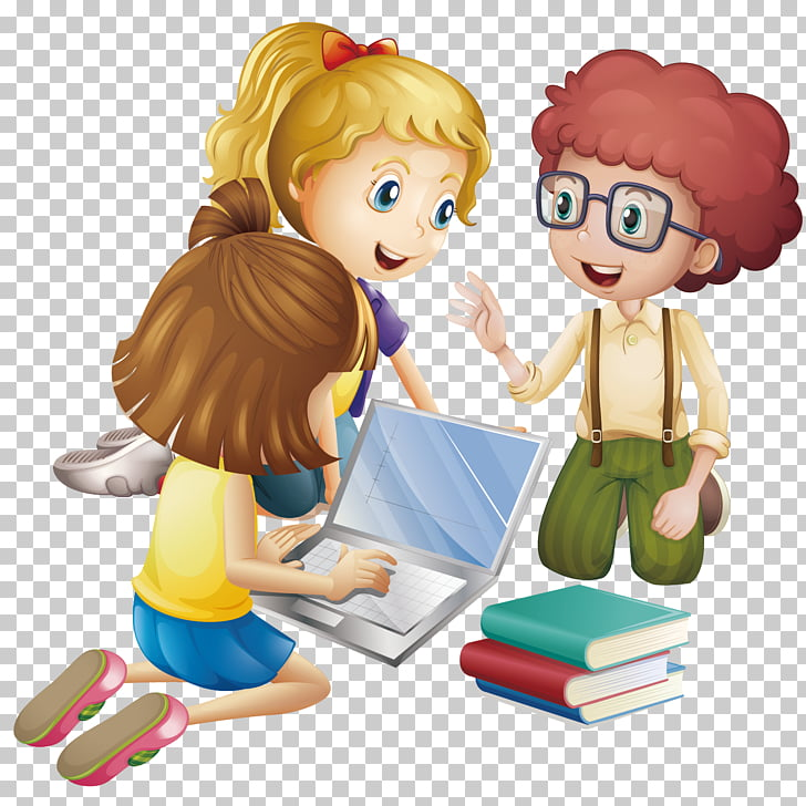 Student Cartoon Learning Education, Pupils discuss learning.