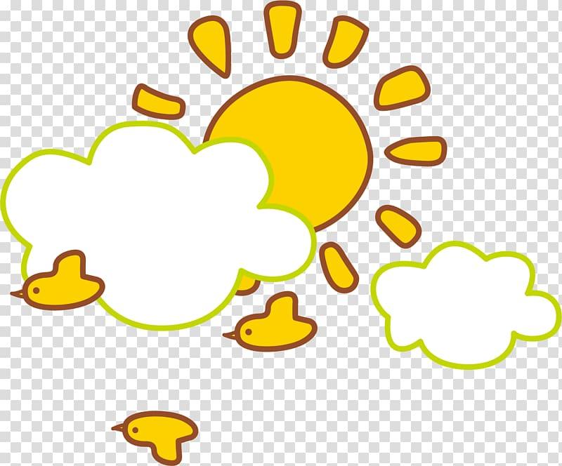 Cloud Sun , Cartoon yellow sun transparent background PNG.