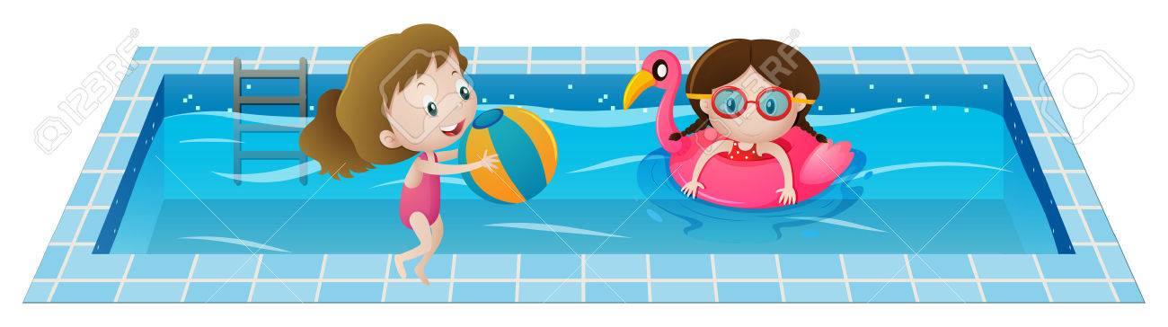 Two girls playing in the swimming pool illustration.