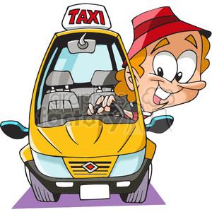 taxi driver cartoon clipart. Royalty.