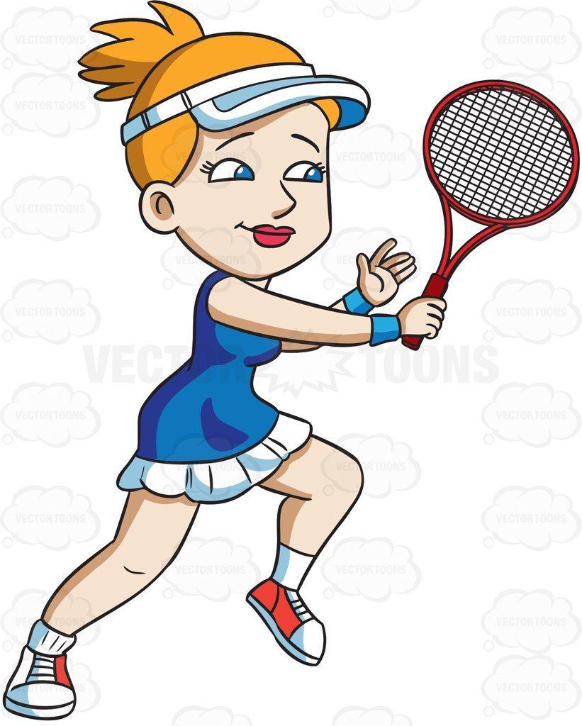A female tennis player hits a backhand winner #cartoon.