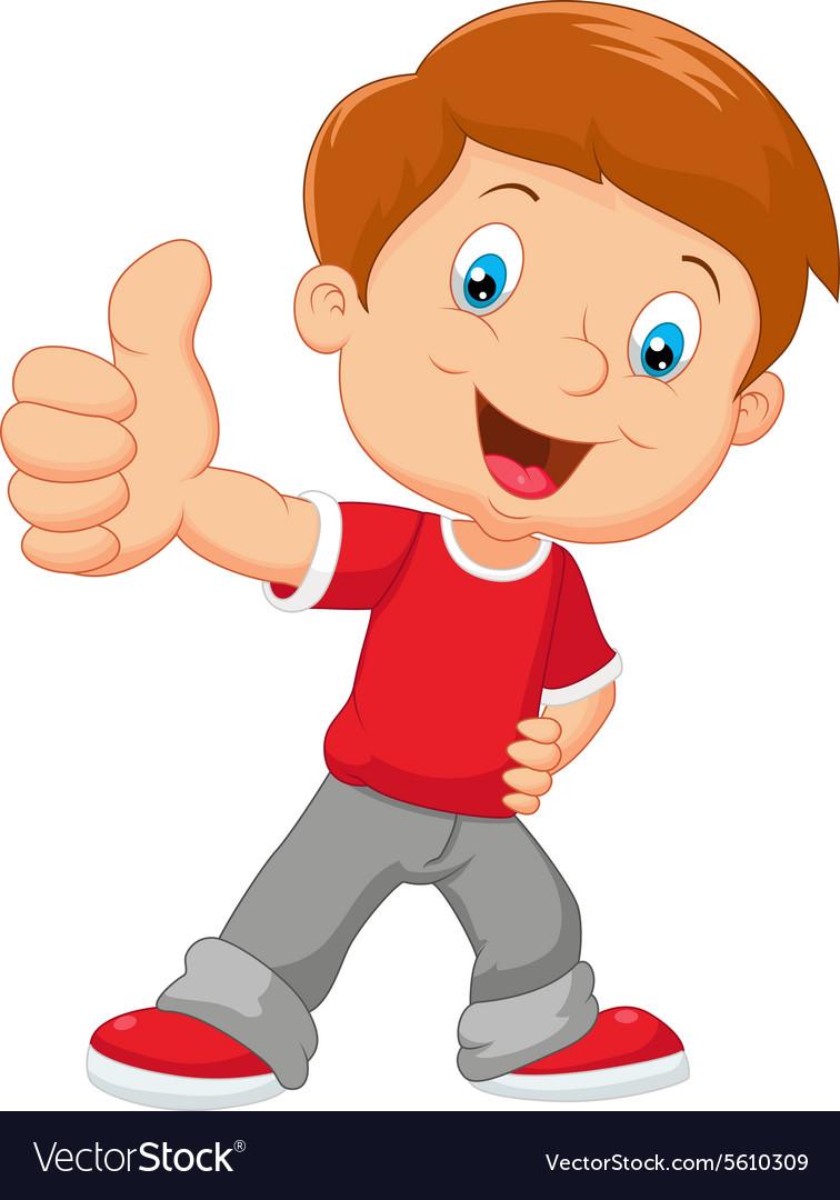 Cartoon little boy giving thumb up.