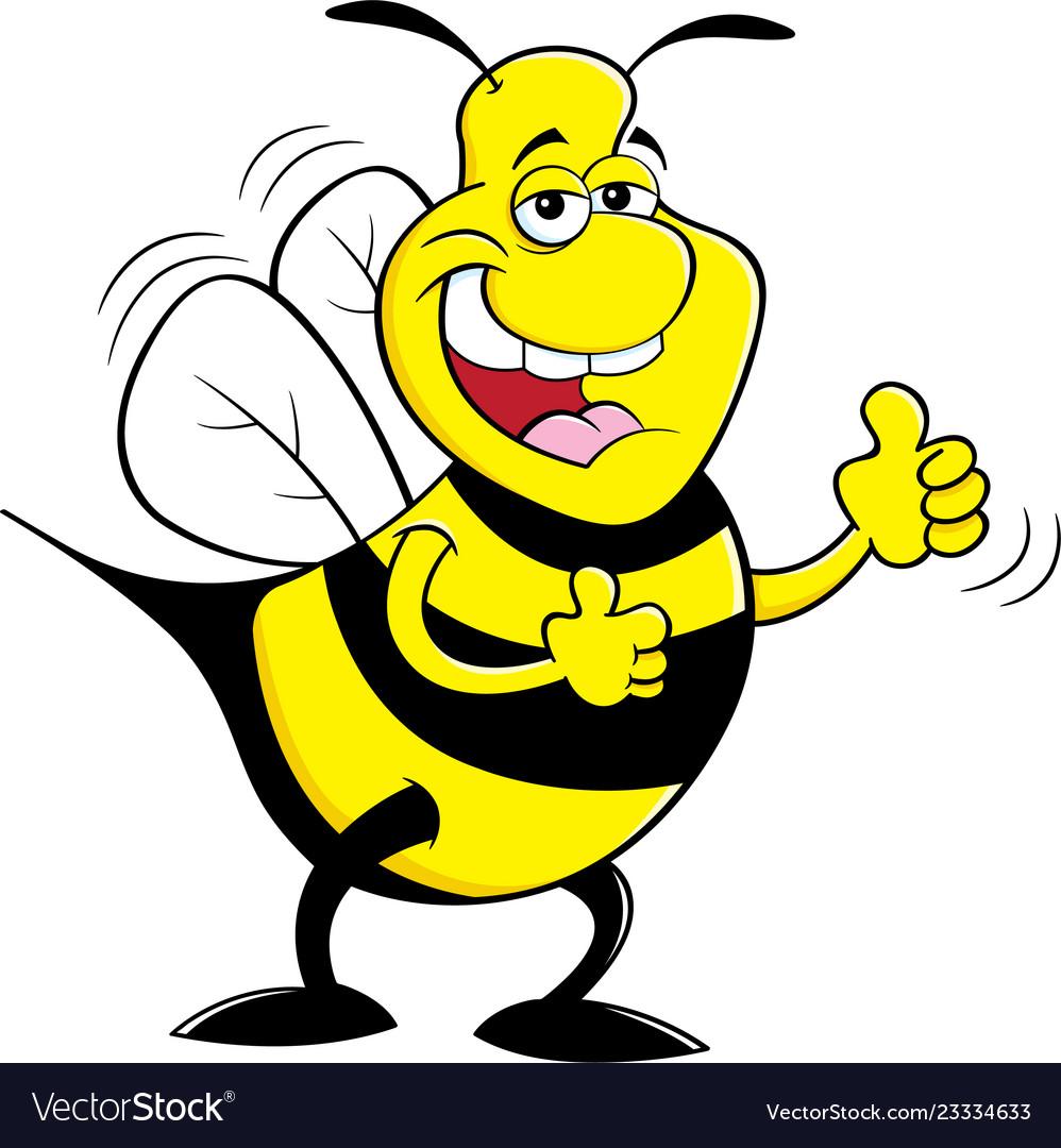 Cartoon happy bumble bee giving thumbs up.