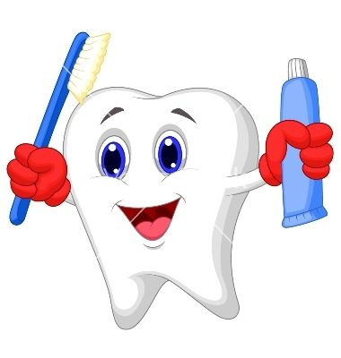 Tooth cartoon holding toothbrush and toothpaste vector.